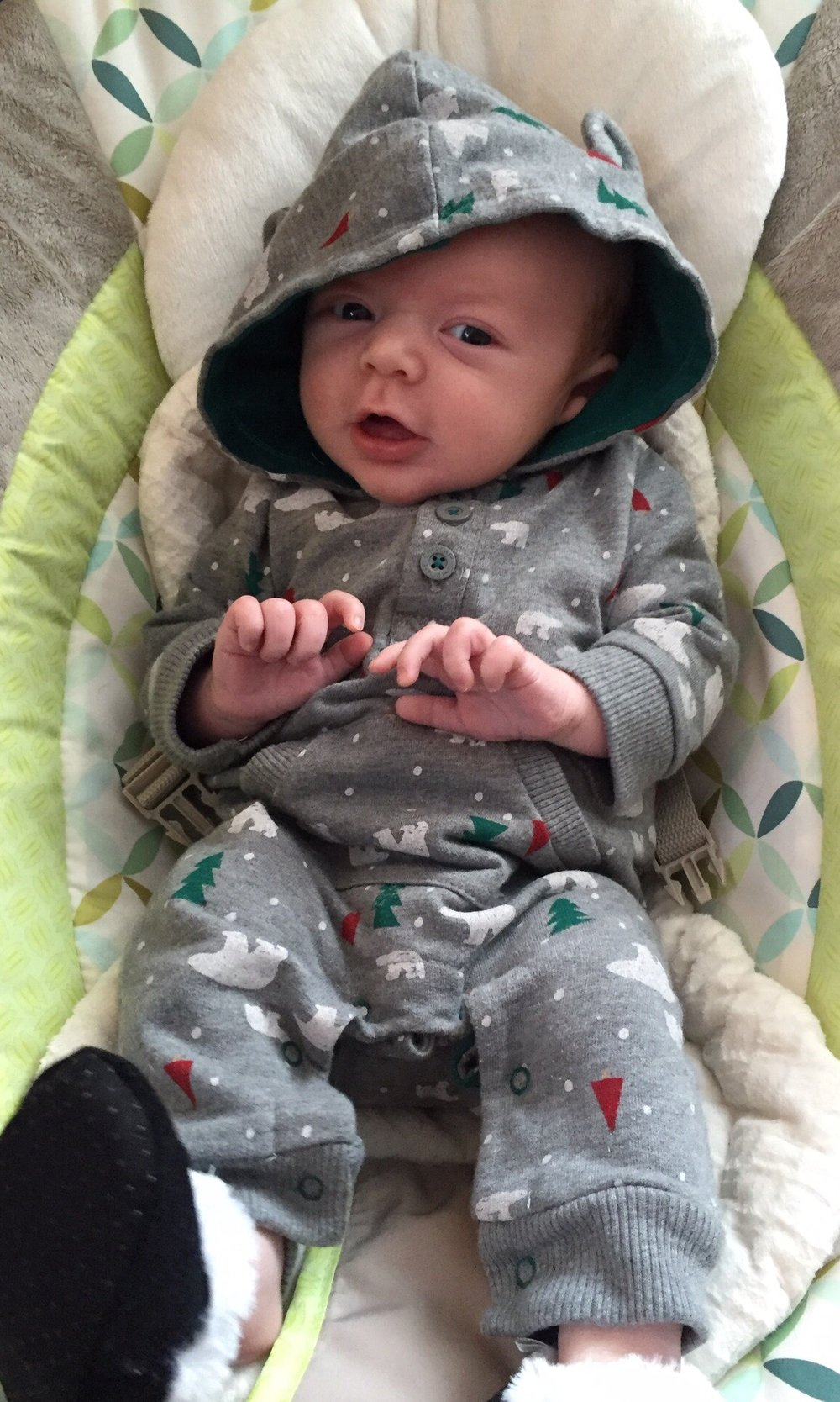 Joshua, 1 month old, ready for Christmas
