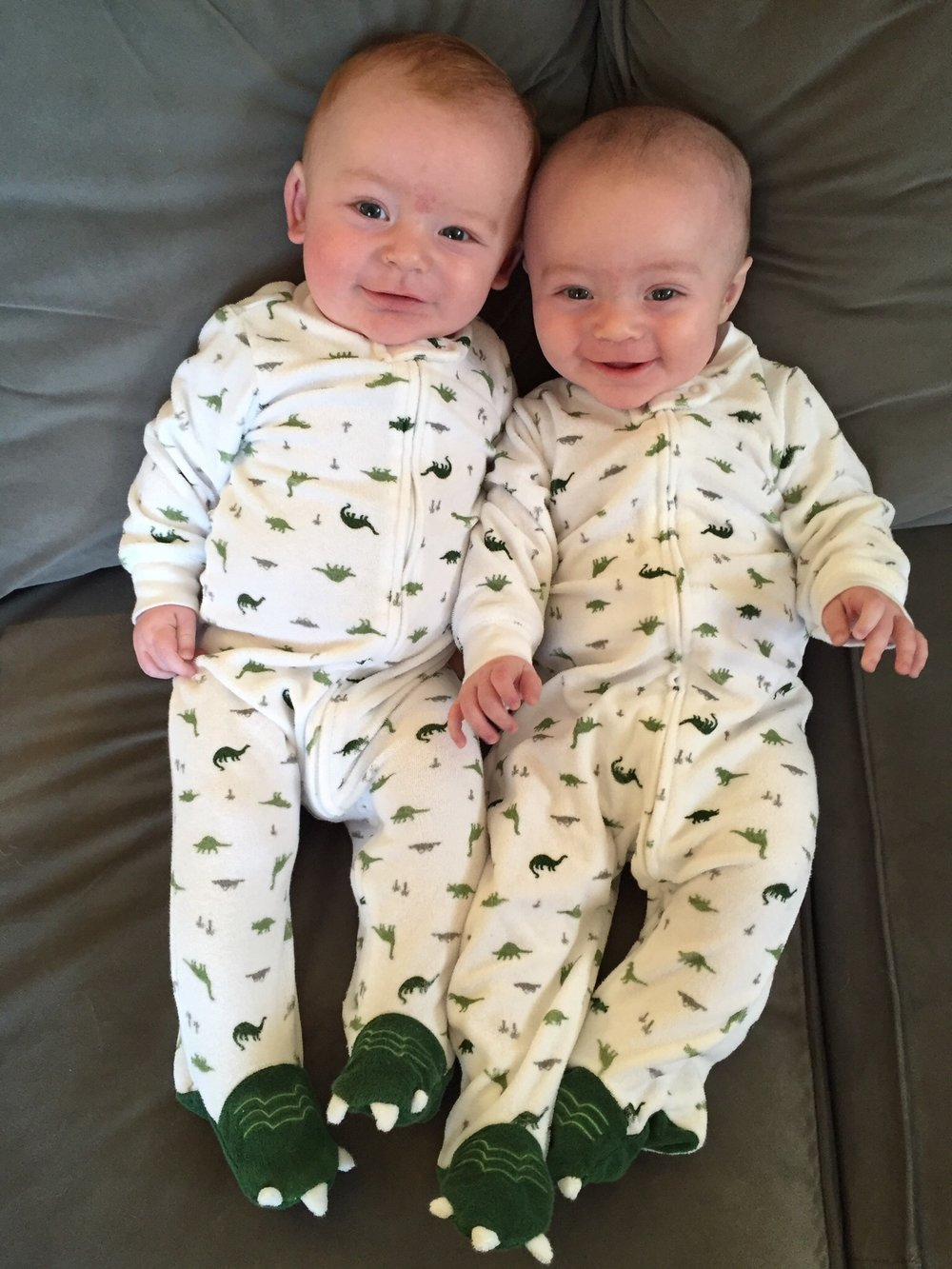 Joshua & Julian, 5 months old, in my favorite of their pajamas