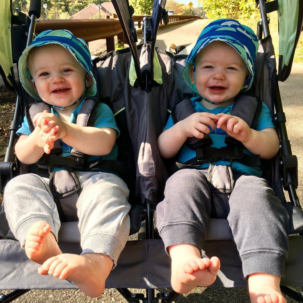 Julian & Joshua, 11 months old, enjoying a walk