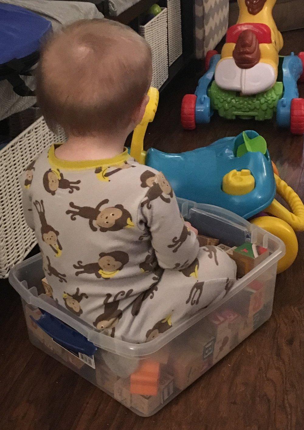 Julian in a box.