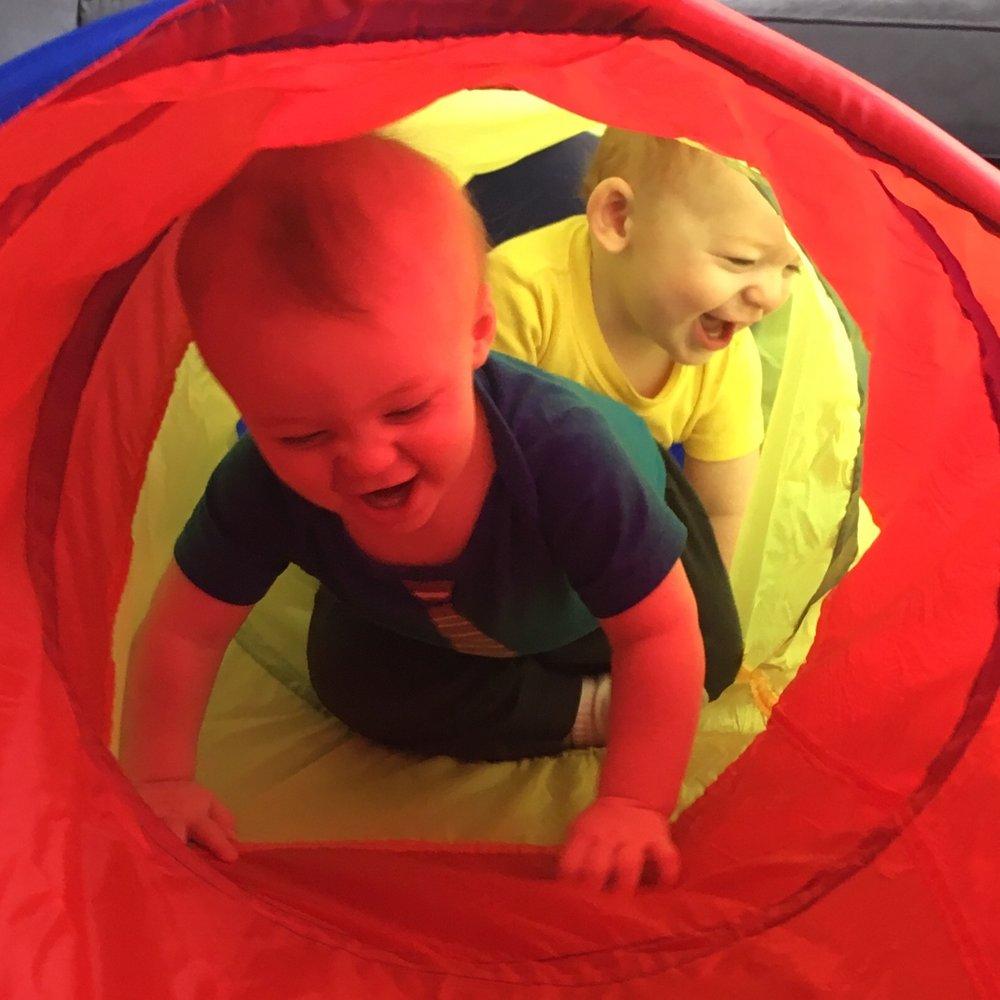 Julian and Joshua in their tunnel.