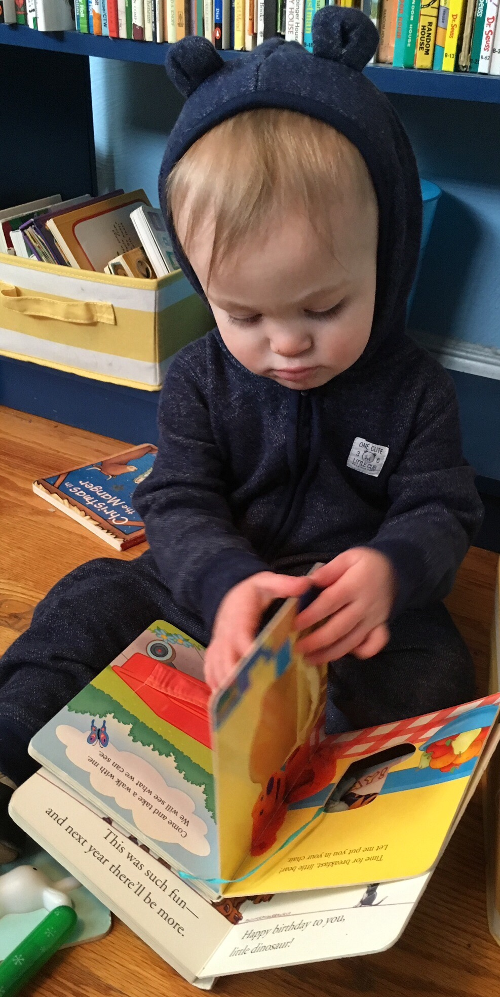 Julian with some books. This librarian mama is happy that both boys like books!
