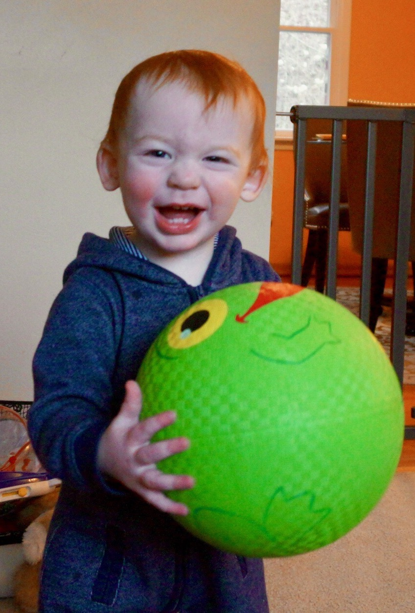 Joshua with frog ball at G-ma and G-pa's
