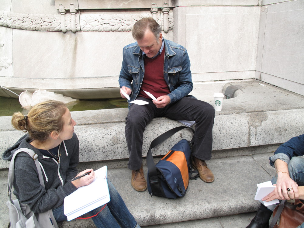Intercepts in Central Park, playing a card sorting game to gain feedback and understanding during the research phase.