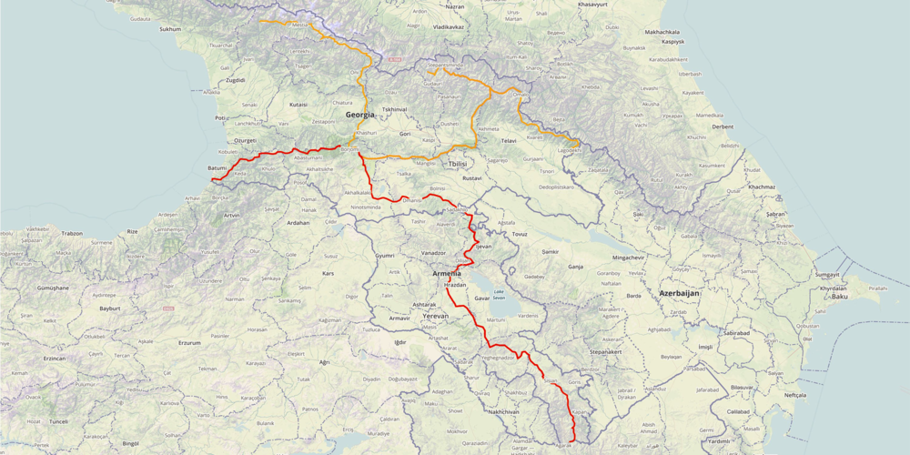 (Red) TCT south-north route, Lesser Caucasus range. (Orange) TCT East-West route, Greater Caucasus range. This image is pulled from www.transcaucasiantrail.com and is for illustrative purposes only; the current route diverges quite drastically in Northern Armenia.