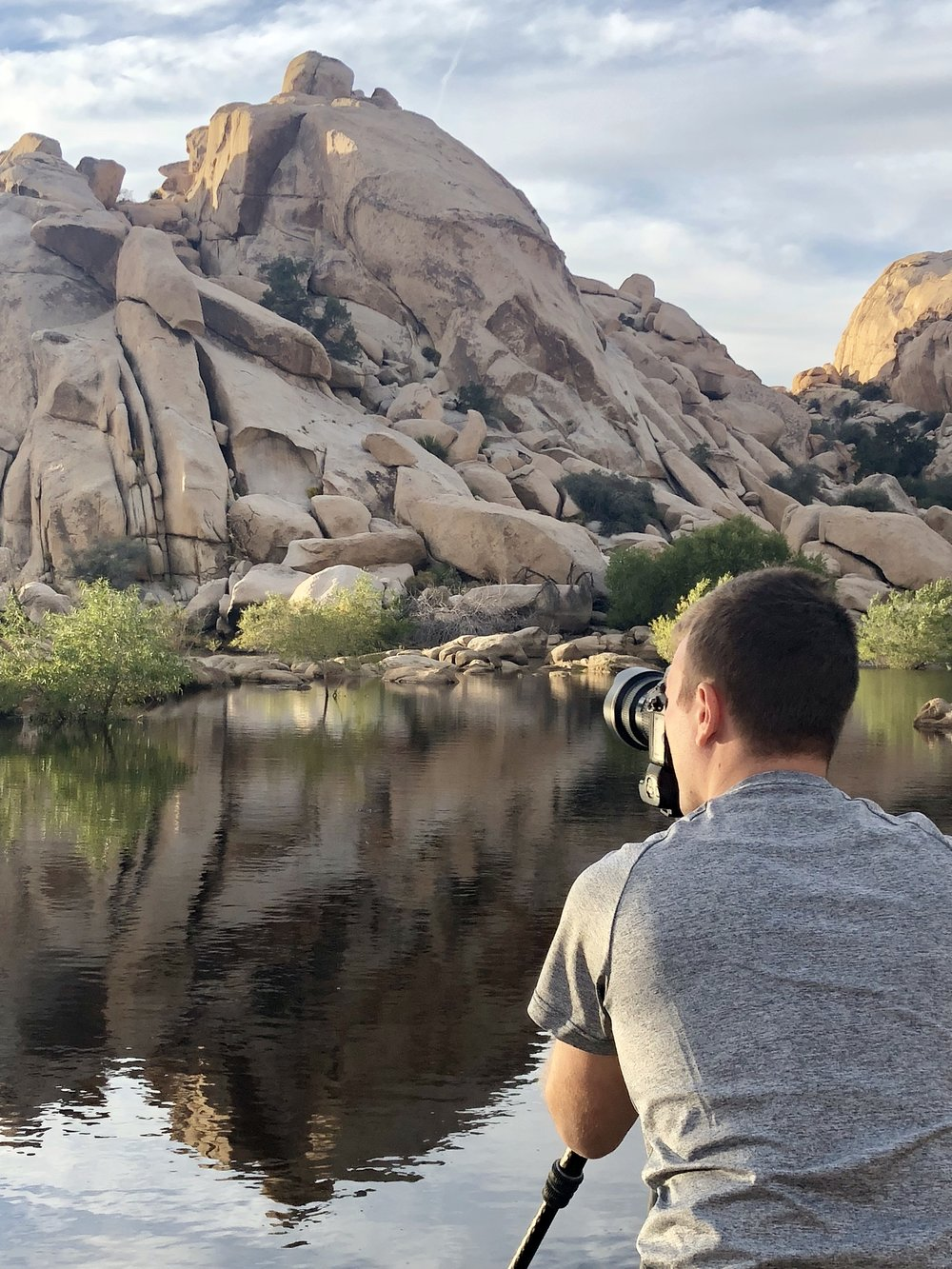 Behind the scenes with my trusty Gitzo Mountaineer tripod photographing Barker Dam.