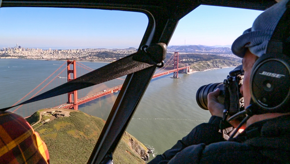 Shooting the Golden Gate with a 24-70 lens! Notice that I'm wearing a beanie and thick jacket… It's often much chillier when up in a helicopter.