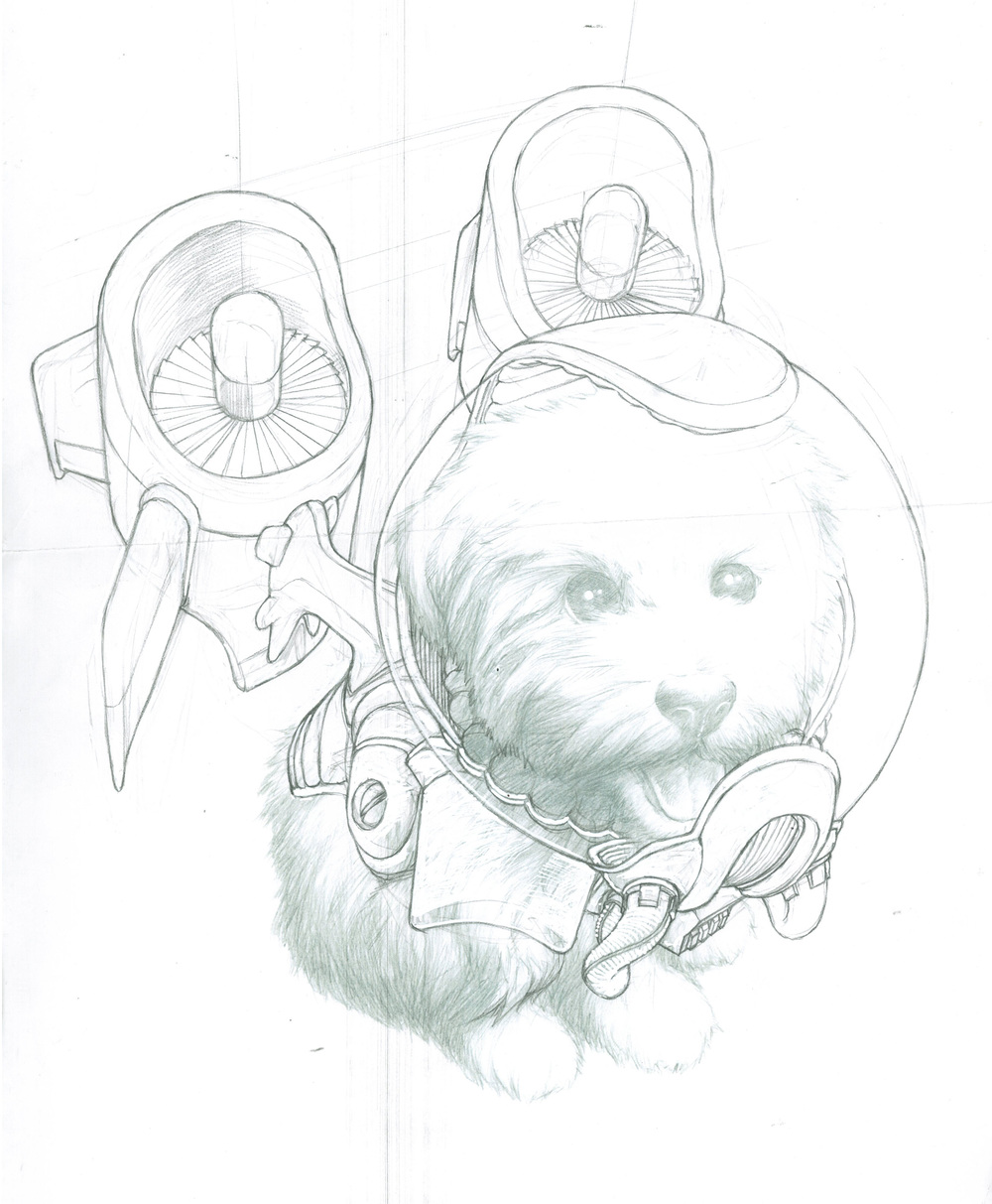 Here is the jetpack design stage for Fluffernutter.I thought he needed a giant fishbowl-style space helmet.