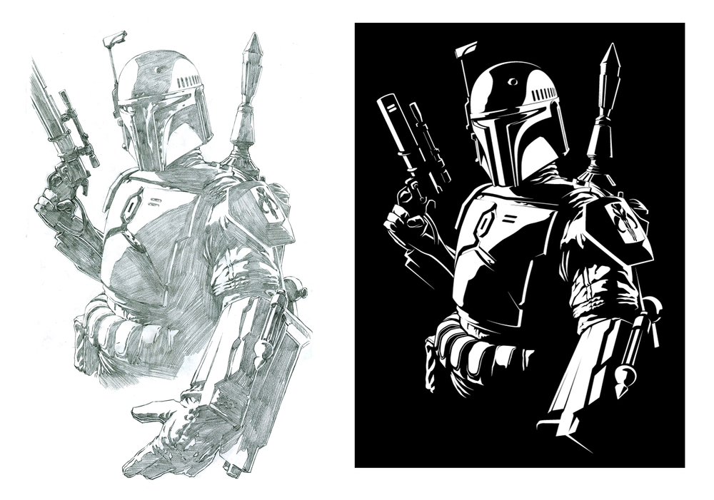 Boba Fett was, of course, one of my favorites to draw. He had several illustrations to his name in the series as well. This one was the only full body shot.