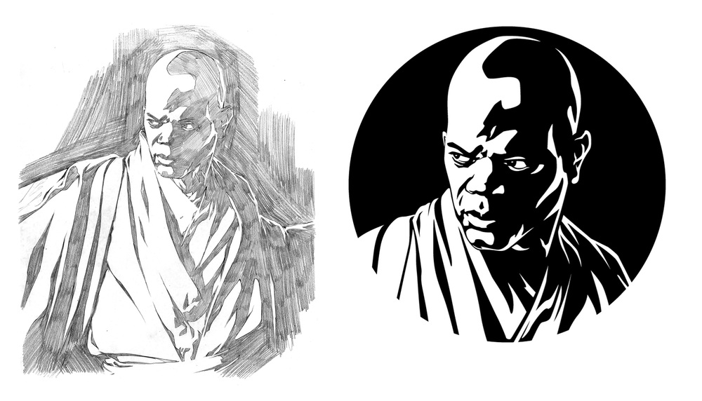 Mace was another difficult one. Samuel L. Jackson has great shapes in his face for drawing but I had a hard time pinning down the refracted light for his face. The refracted light became an essential element in these illustrations to really round out the shapes and present an endpoint for the far side of the figure.