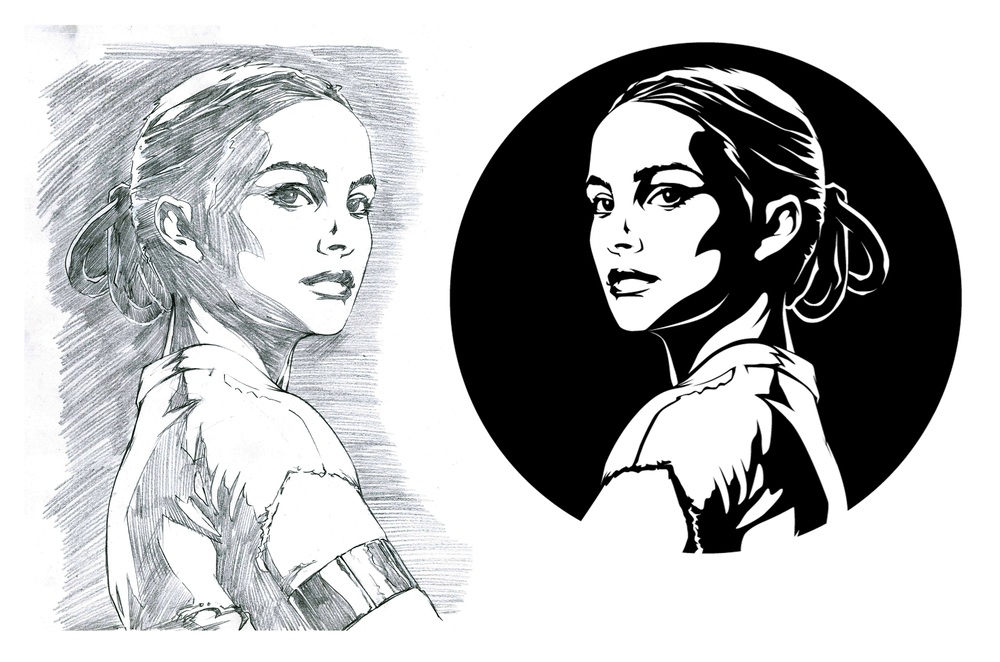 Padme Amidala, like Slave Leia, I knew was going to be a problem getting the face right. Natalie Portman has such sparse delicate features that distilling them down to just black and white I thought was going to be a nightmare.  For once I did the smart thing though and found a great high resolution photo to draw from and got it done without a hitch.