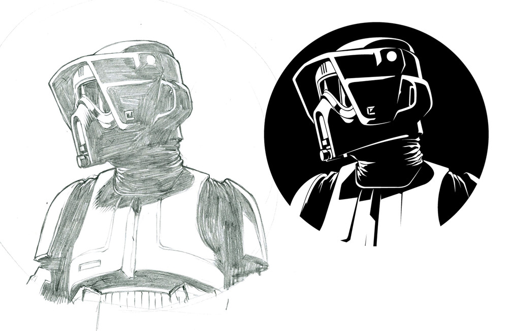 I love drawing Stormtroopers. The Speeder Bike scouts were my favorite when I was a little kid and that love carried over to doing these. There were probably six or seven different Stormtroopers for this series. I thought including all of them might be a be a bit much so I just chose my favorites.