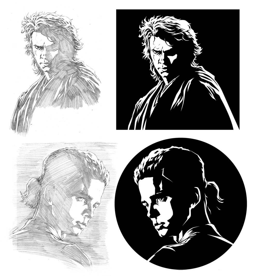 Anakin Skywalker had two different illustrations. One from Episode 2 that had to convey a much younger and more innocent Anakin, and the second is from Episode 3 portraying him as a much darker and wilder character.