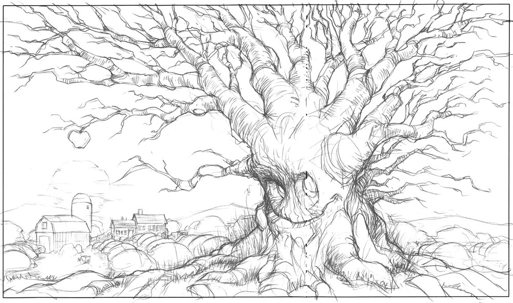 The happy apple tree. I went all the way in the other direction with a few drawings just to see how they liked them.