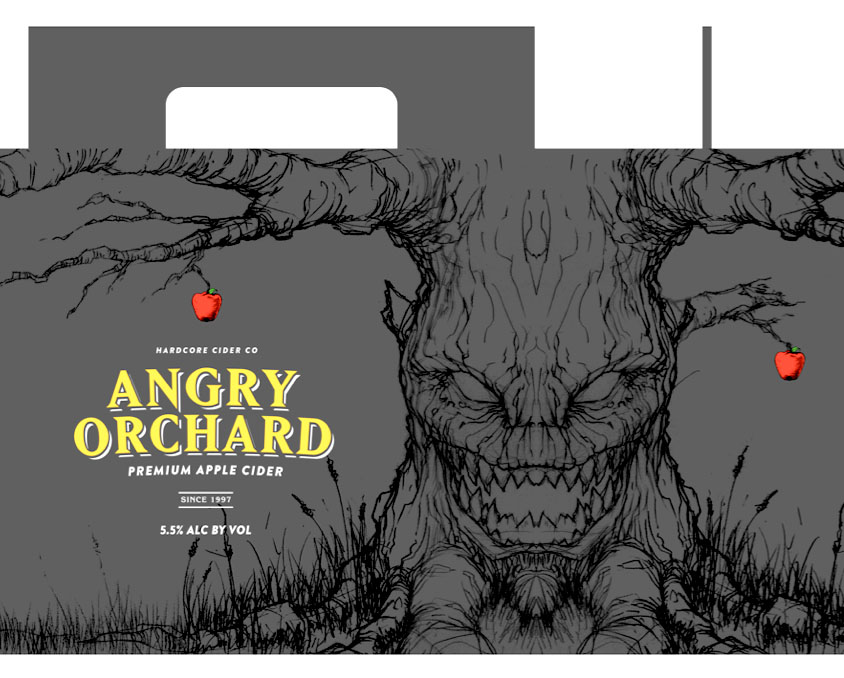 The viciously angry apple tree. This tree was what set the whole thing off in the right direction. The design was laid out by a great designer, Erik Weikert, and then I penciled it out quickly. The only thing wrong was it was a little too vicious for the Angry Orchard brand. They wanted more attitude, less monster.