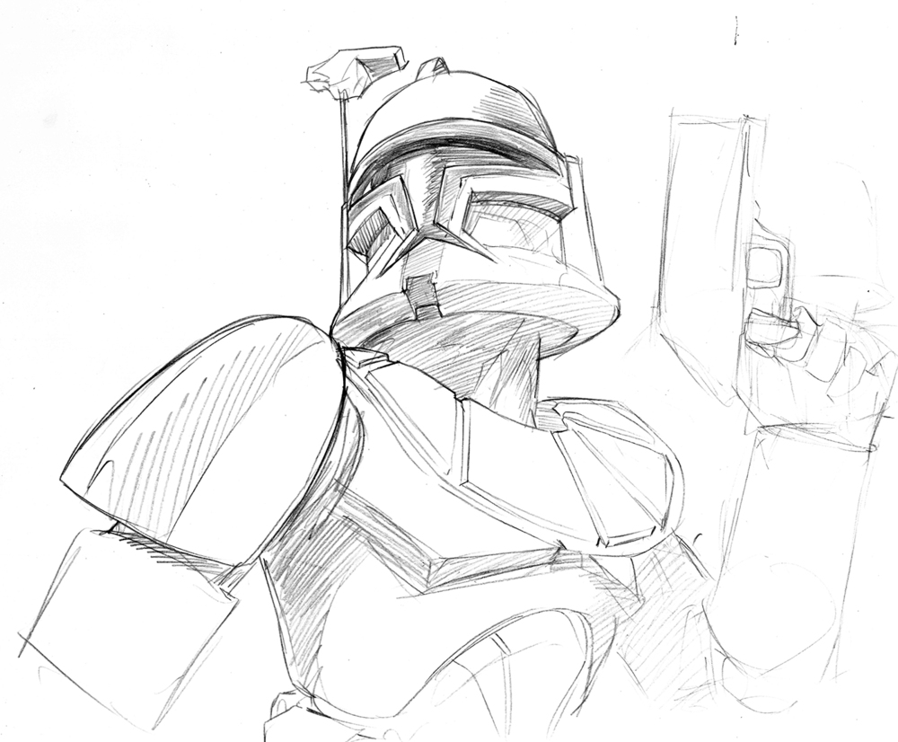 After quite a few more we finally got a great heroic pose nailed.  Once we showed how versatile this sketch could be in a trade dress format, this sketch was chosen to go to final. Unfortunately though, we had to lose the gun.  The parameters of demographics are never tighter than the demands of trade dress.