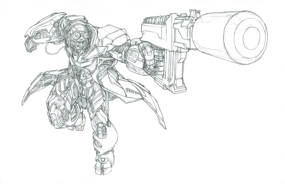 The first Crosshairs pencil. His crazy guns were all over the initial concept art that we received so I tried to make them a big part of the illustration.