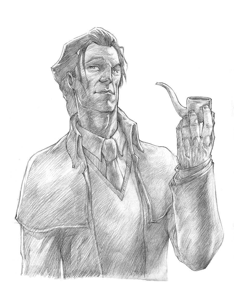 A nice penciled headshot of Sherlock Holmes.