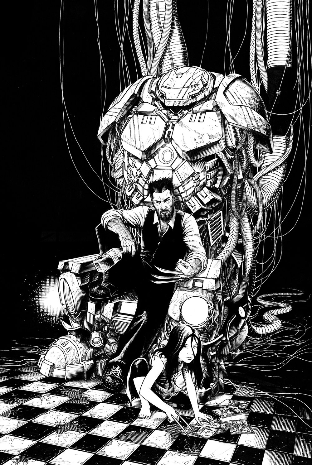 Logan and X-23 on a throne made of Iron Mans Hulkbuster armor.