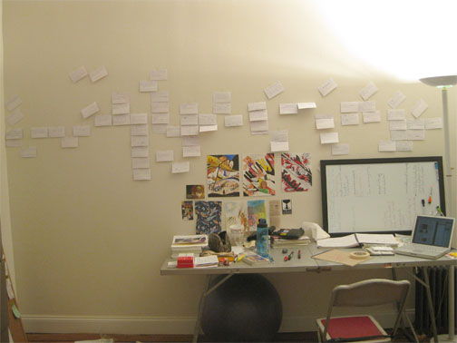 A picture of my studio when I first started storyboarding the AER HEAD comic.