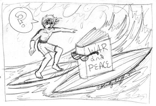 A book surfing. Get it? It's a story, and it's on a board :)