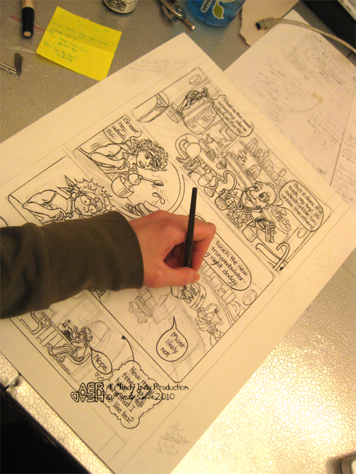 I'm inking my drawing of AER HEAD page 5.
