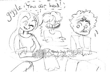 Sketchy drawing of Aeryan, Andy, and Vee sitting at desks at school.