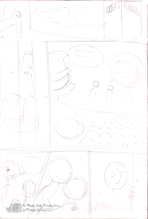 Very rough layout of where characters and speech bubbles should go on page 12.