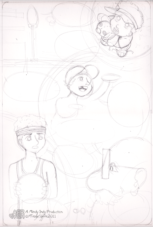 Layout developing into drawing of Pipsy remembering Aeryan growing up.