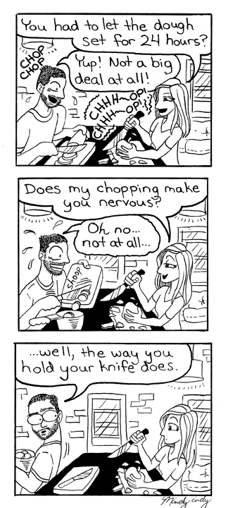 Black & White Custom Comic about a funny moment in a relationship.
