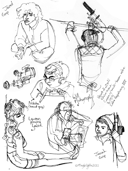 "Sketches of some of the crew of ""Heart of a Doll"""