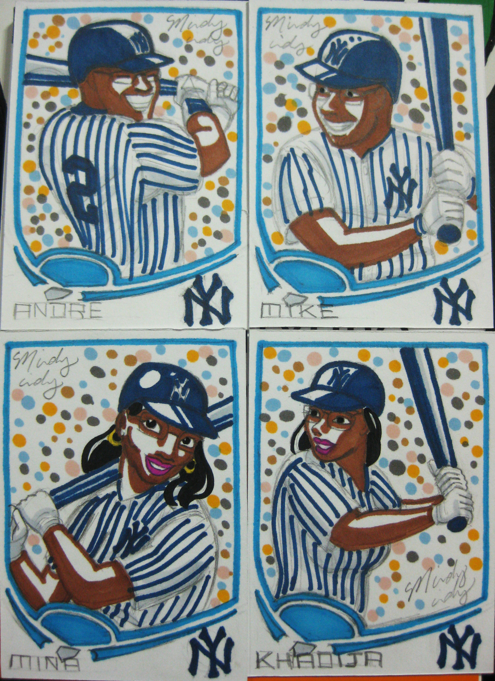A clever gift!  One guy wanted all his siblings as Yankees players on baseball cards.  The small size is just perfect for ball cards!  I probably spent way too much time on these, but hey they turned out great.