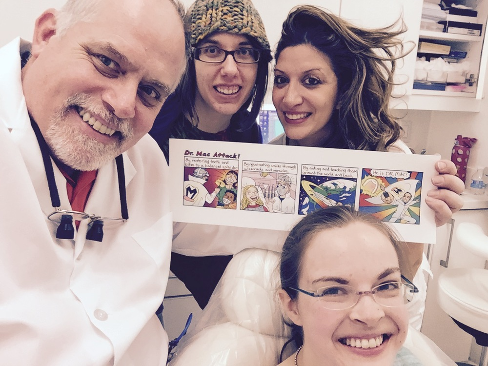 Left to right:  Dr. Mac, Mindy Indy, dentist's assistant, Susie.