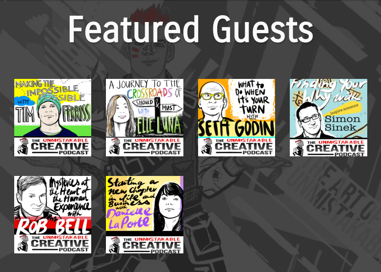 I love the cartoony branding of The Unmistakable Creative Podcast!