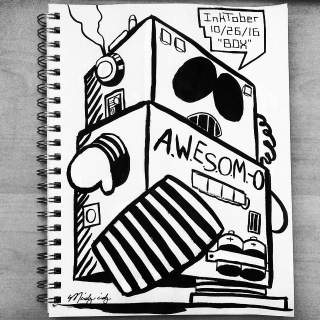 "The #inktober sketch with the most ""likes"" on Facebook (16): Awesom-O for the BOX theme on 10/26/16."