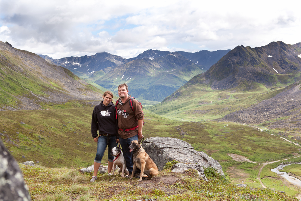 Denis, Adrianne, and the girls in Alaska