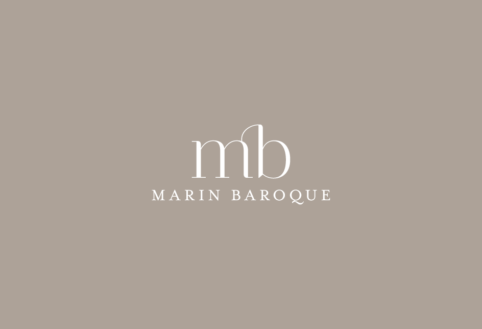 Monogram logo for a Northern California community chamber orchestra. Client: Marin Baroque