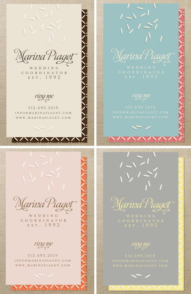 Wedding planner business card design Happy wedding moments blog