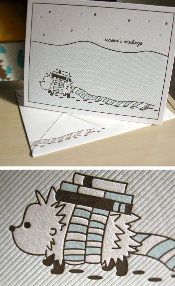 Hedgehog Letterpress Holiday Card