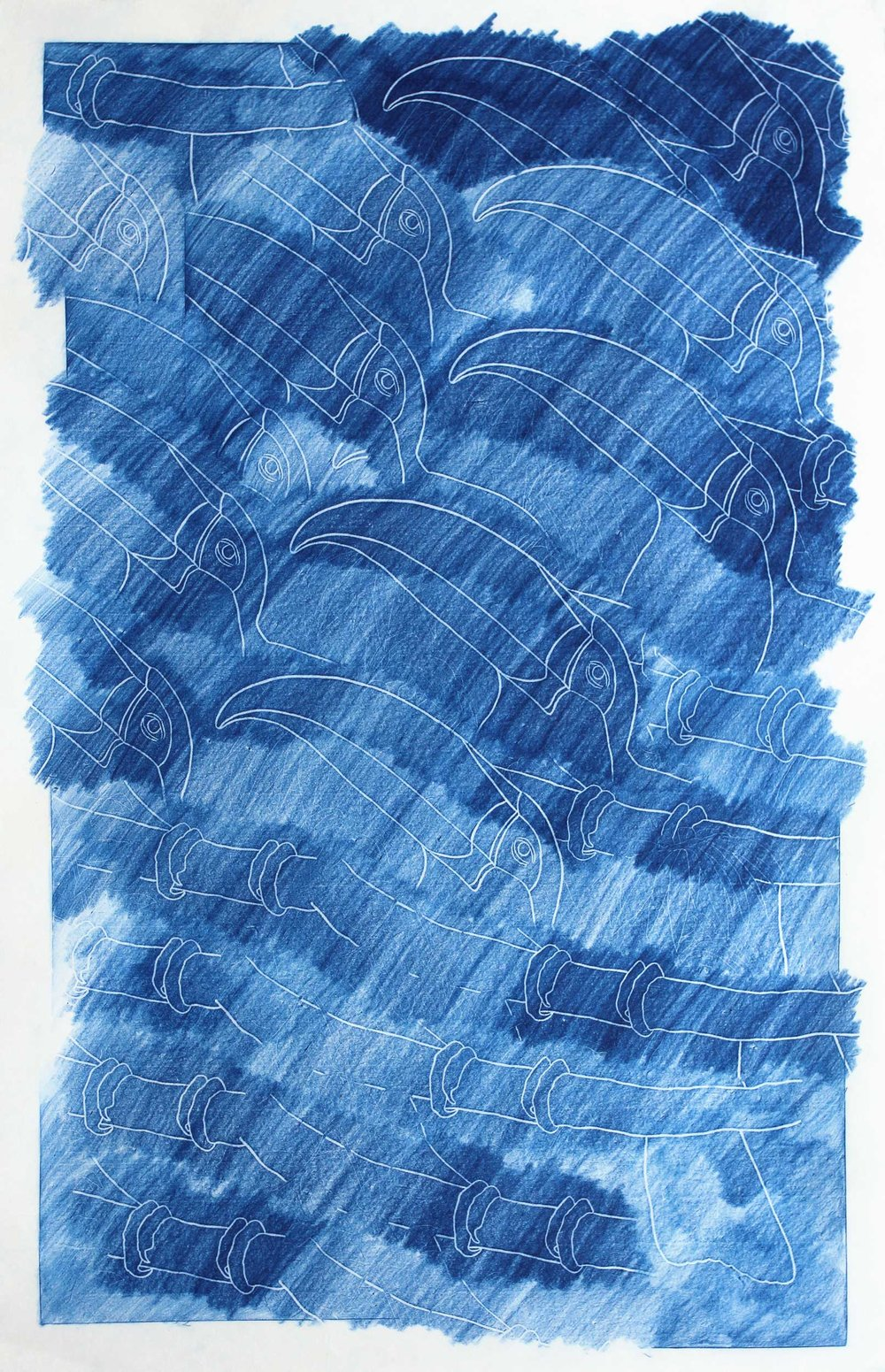 FIVE CAN NOT (FROTTAGE BLUE) - Pencil crayon frottage on Japanese paper95 x 63 cm2018