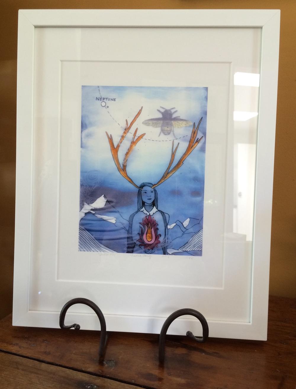 Display of how Antler Girl looks framed. Prints are sold unframed.