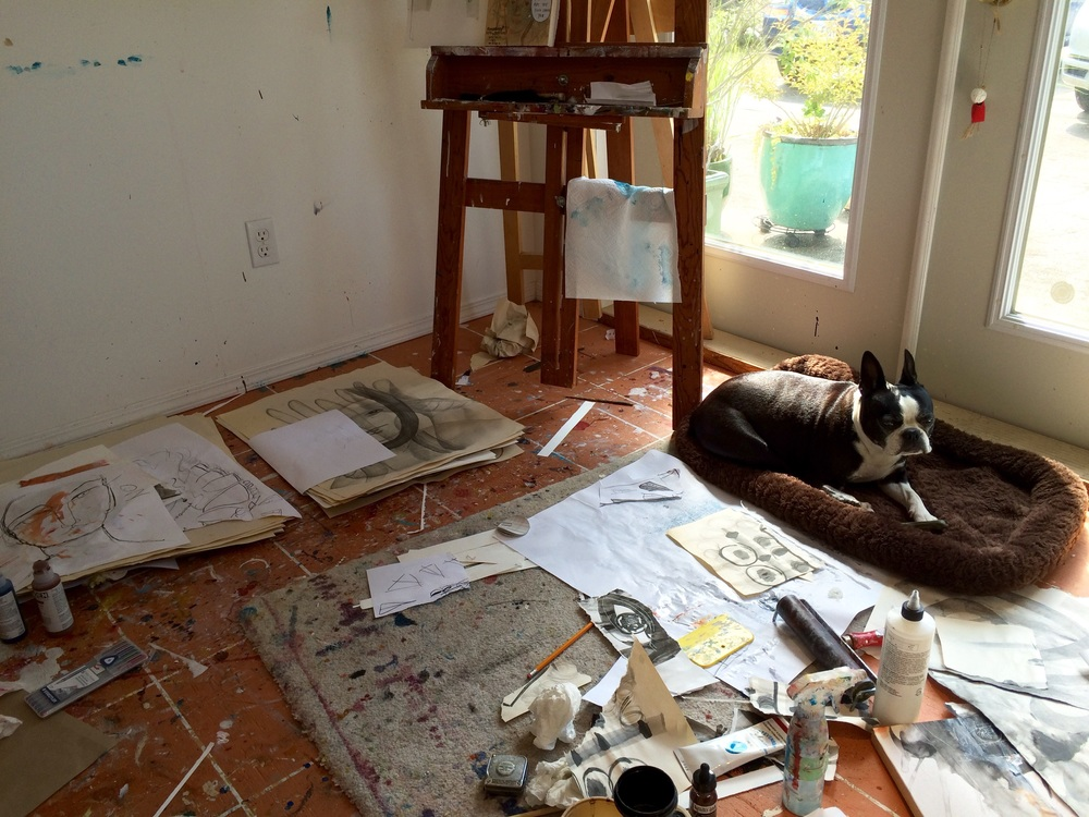Studio dog Tula overseeing Nadina's messy studio.                                                                                                           iPhone capture by Nadina Tandy