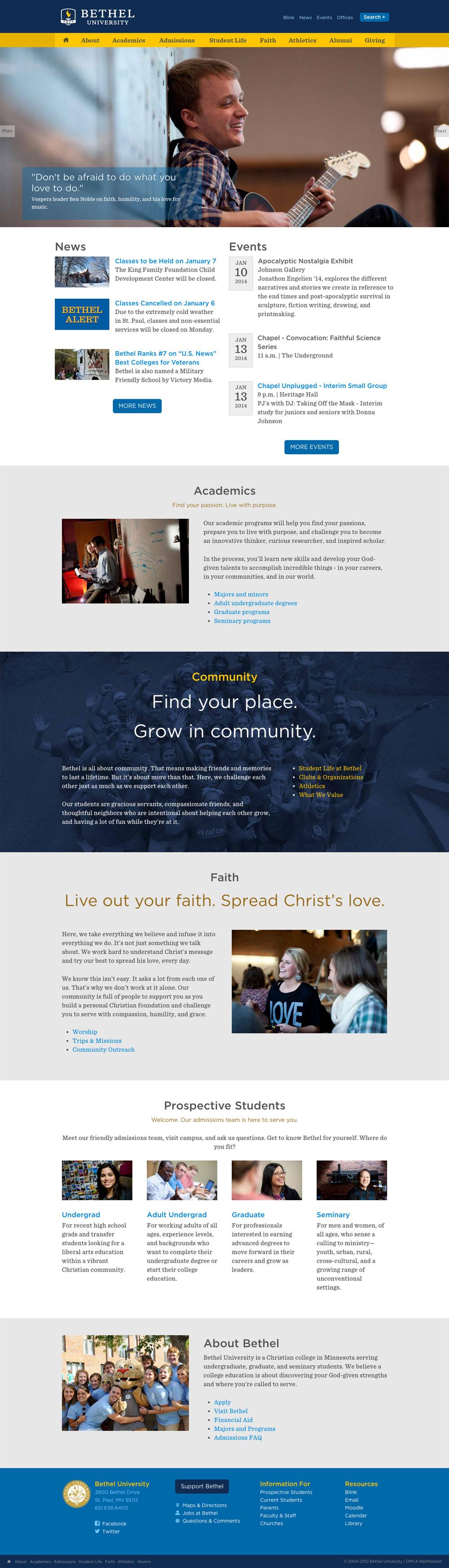 Bethel University homepage