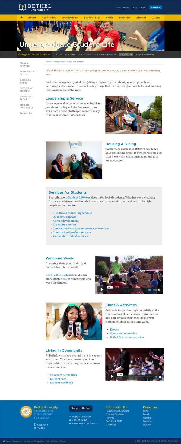 Student Life homepage