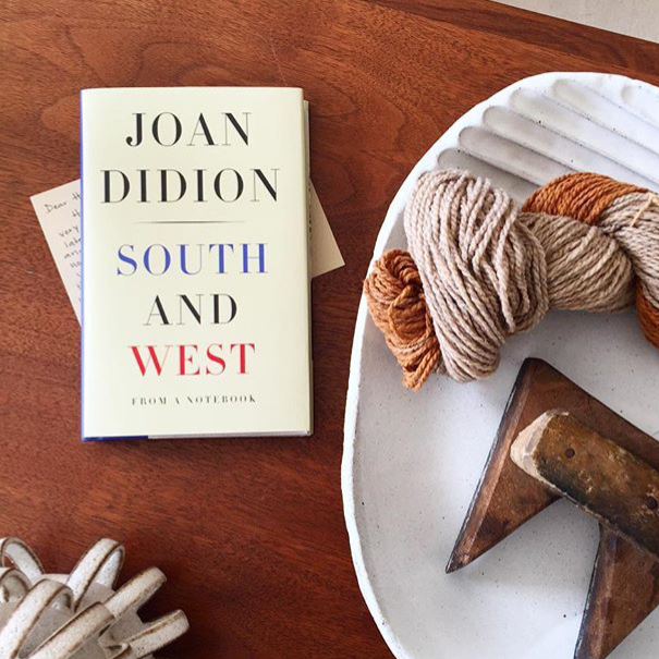 "South and West, Joan Didion - I tore through these sharp, highly relevant essays in about a day. South and West while written about the 70's remains pertinent to our current political and cultural climate. ""I had only some dim and unformed sense, . . . that for some years the South and particularly the Gulf Coast had been for America what people were still saying California was, and what California seemed to me not to be: the future, the secret source of malevolent and benevolent energy, the psychic center."" image @lilystockman"