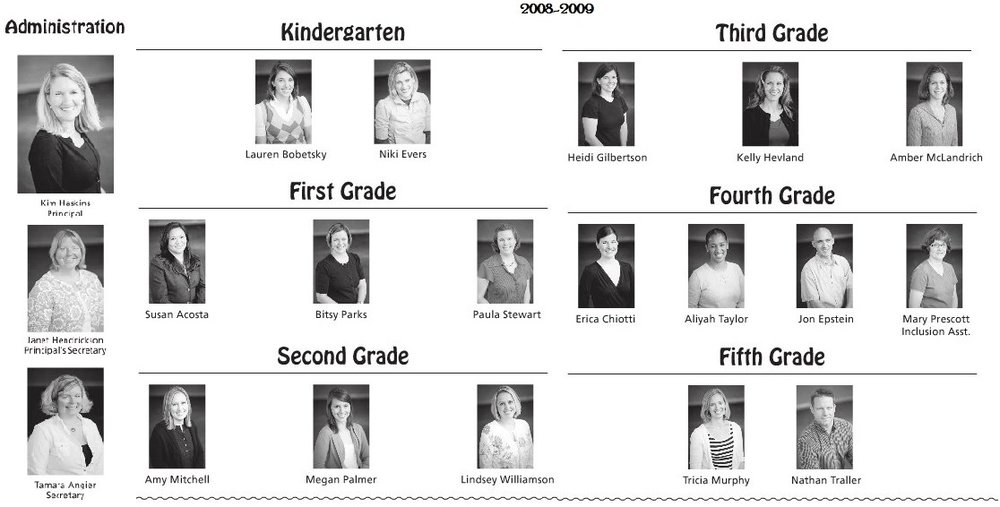 2008-2009 Staff shown in the yearbook
