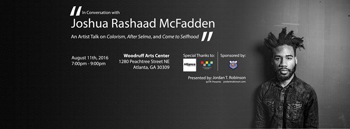 Joshua Rashaad McFadden speaks at The Woodruff Arts Center in Atlanta, GA