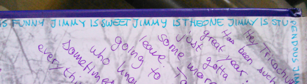 My dear friend adorned the edges of my 11th grade yearbook with truths about Jimmy. Yep. jimmy is funny jimmy is sweet jimmy is the one. lol