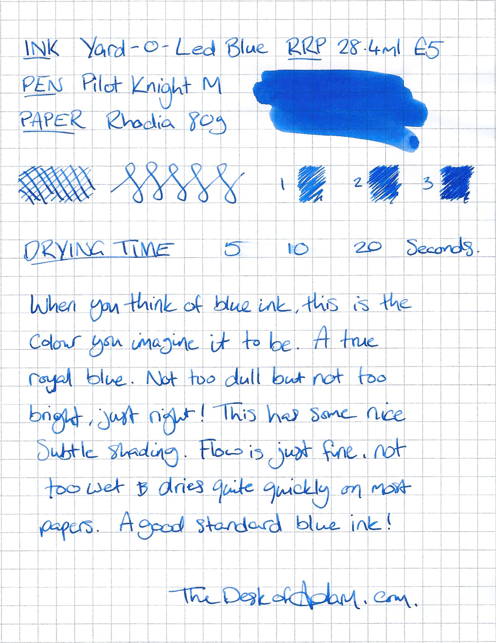 When you think of blue ink, this is the colour you imagine it to be. A true royal blue. Not too dull but not too bright, just right! This has some nice subtle shading. Flow is just fine, not too wet & dries quite quickly on most papers. a good standard blue ink!