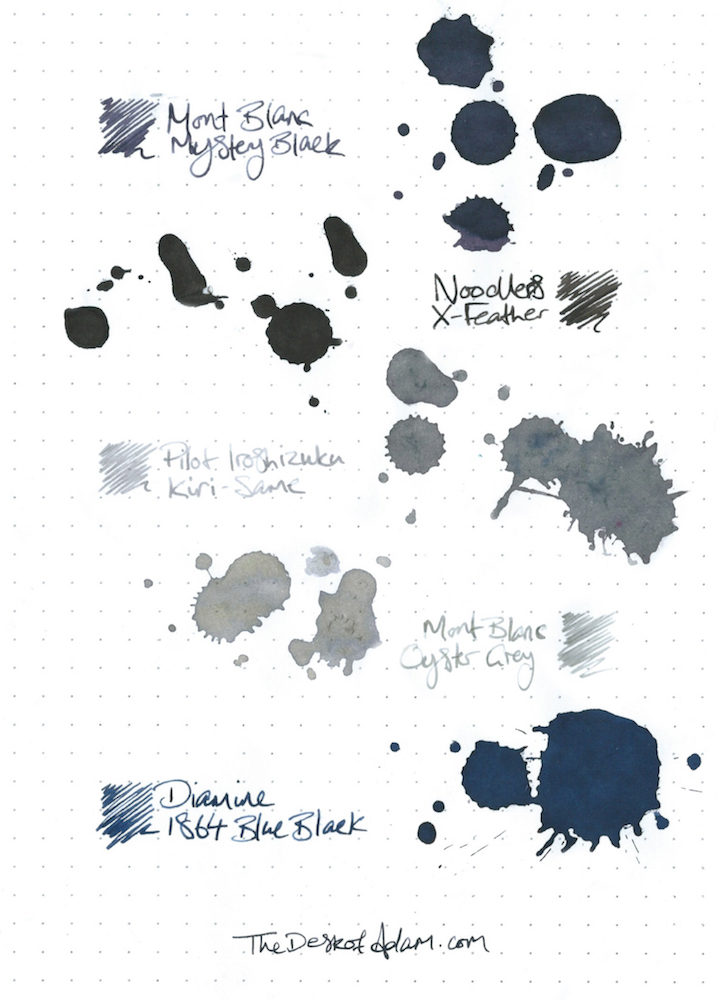 (CLICK TO ENLARGE) Mont Blanc - Mystery Black Noodlers - X-Feather Pilot Iroshizuku - Kiri-Same Mont Blanc - Oyster Grey Diamine - 1864 Blue Black
